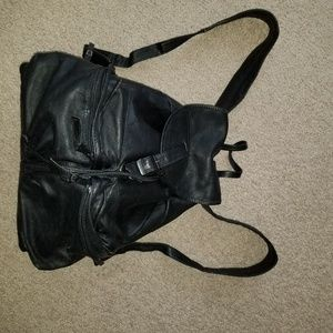 b8,219 Simon Backpack Black Leather Bag Tote Purse